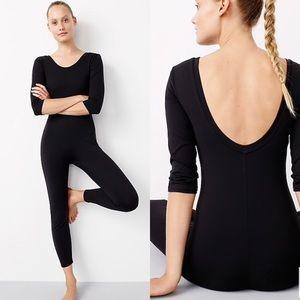 J. Crew Full Length 3/4 Sleeve Bodysuit Black L